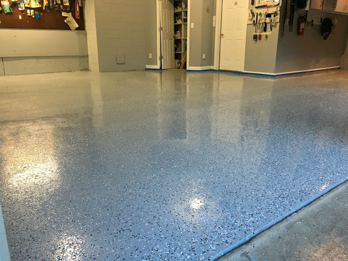 garage floor after armor chip gray floor epoxy - How To Epoxy Garage Floor